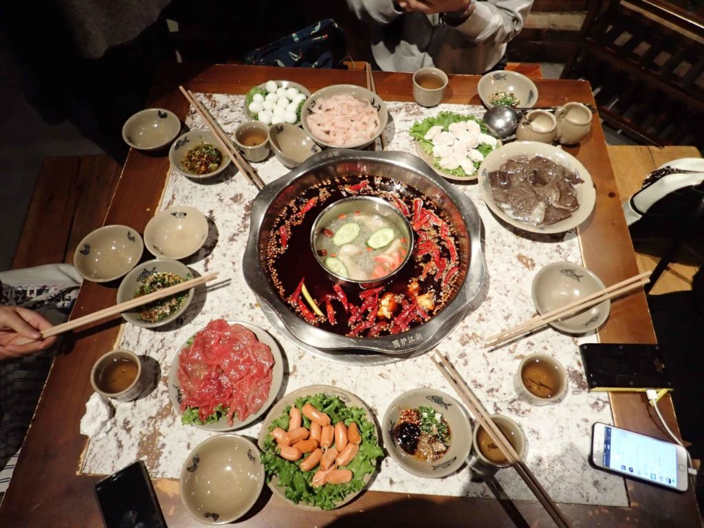 Dinner: hotpot. Note the intestines and tripe at 12 and 3 o'clock, respectively. Actually pretty good