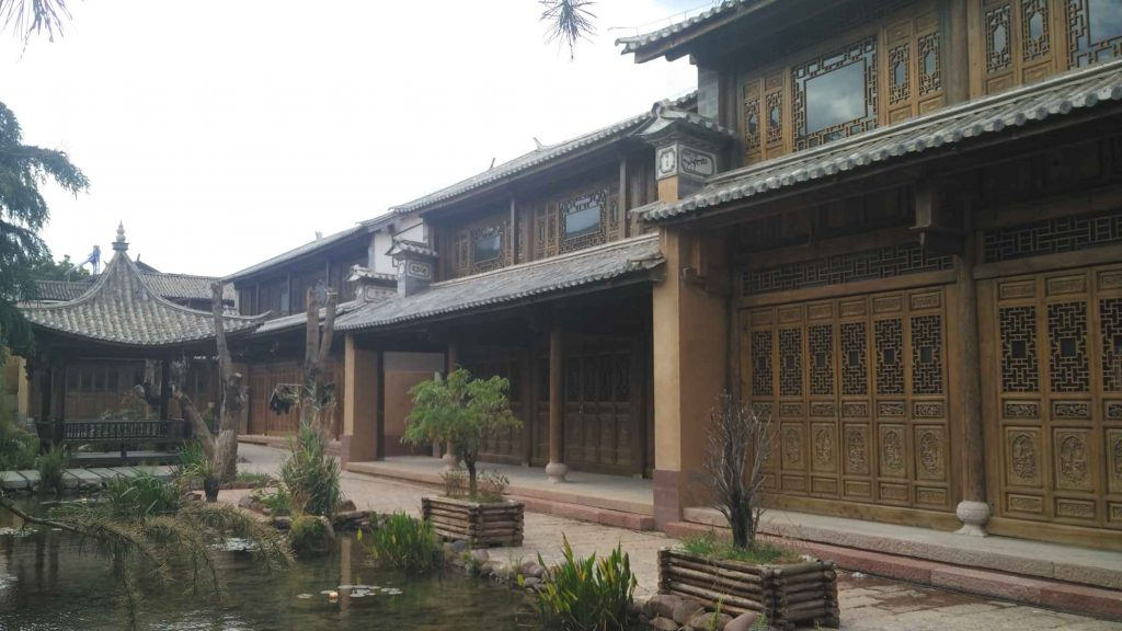 The local theatre, recently restored in the ethnic Bai style