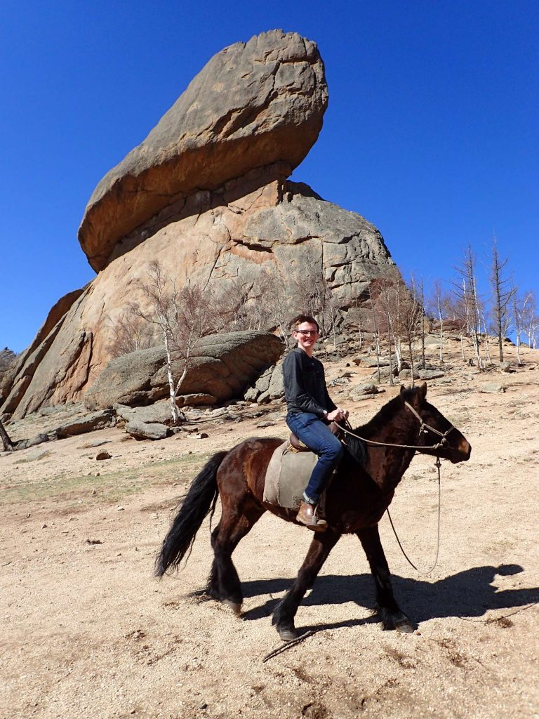 Three seconds before this picture, the horse was standing nicely in front of the rock; ten seconds after, it had galloped twenty metres away – it was used to a much more firm hand on the reins (Bagi let me use his own horse for the picture)