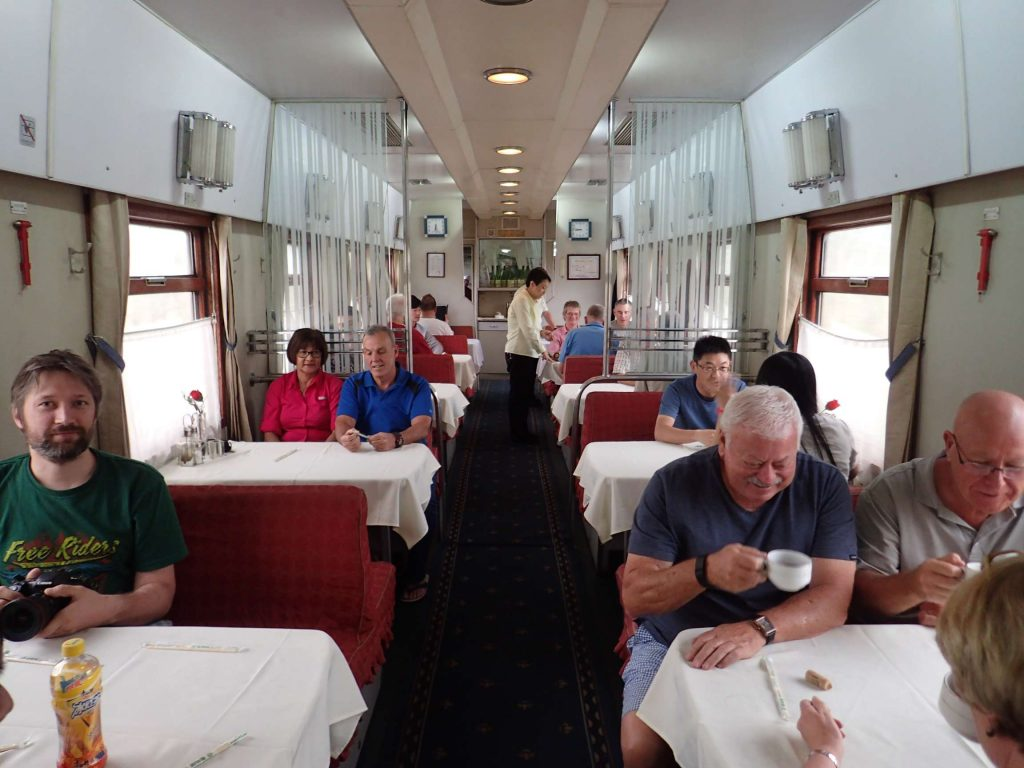The comparatively cheery dining car – lots of Australians once again. We all got lunch and dinner meal tickets, which was a nice surprise