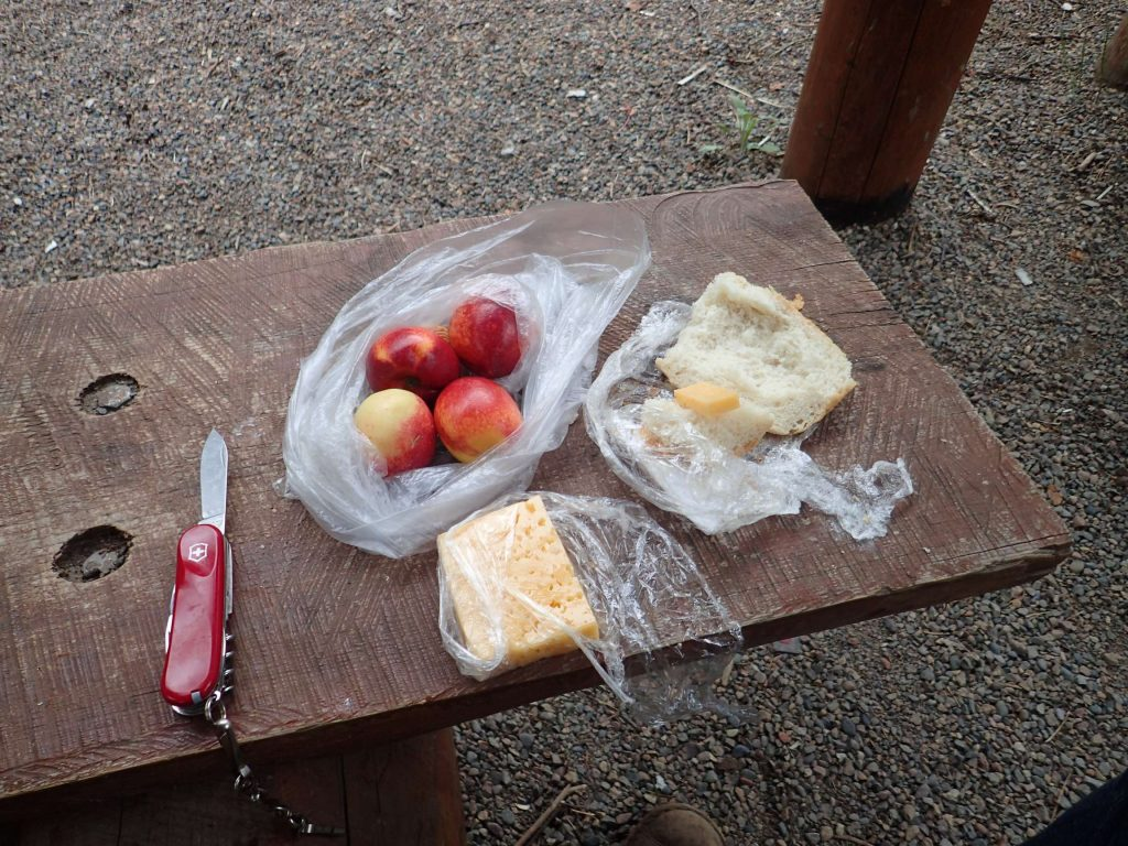 Bread, cheese, fruit – a good lunch
