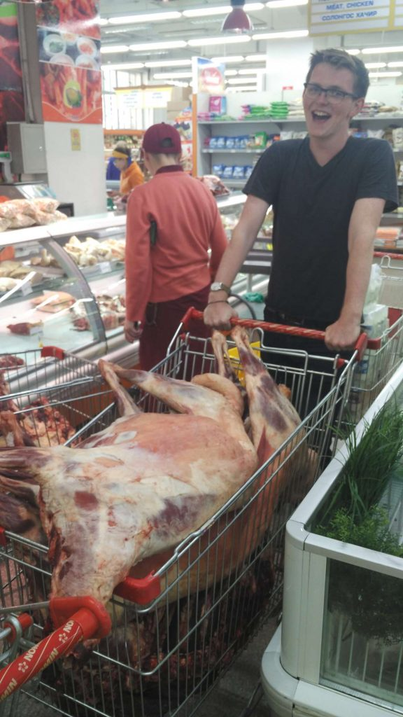 Mongolian-style groceries. This is two whole sheep (well, minus heads, skin etc…)