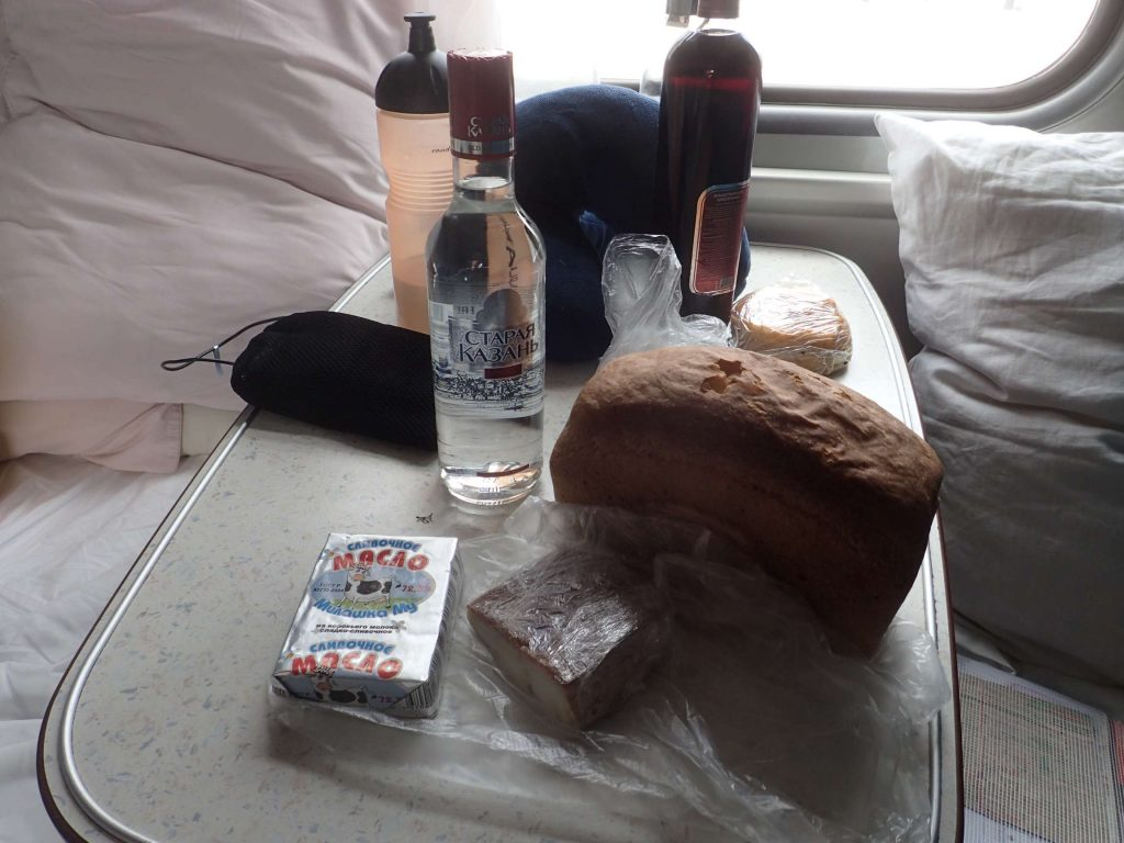 Russian staples: Bread, butter, smoked fish, and vodka