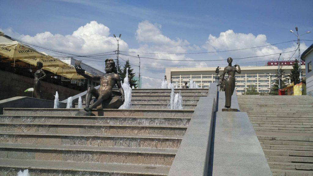 One of Krasnoyark's many fountains. Krasnoyarsk is surrounded by the Yenisey river – these statues represent the nine rivers which feed it