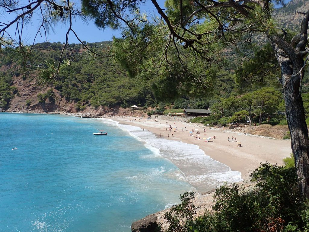 Kabak beach, where time stands still, viewed from the mountainside. The insects and undergrowth formed a fantastic seaside smell