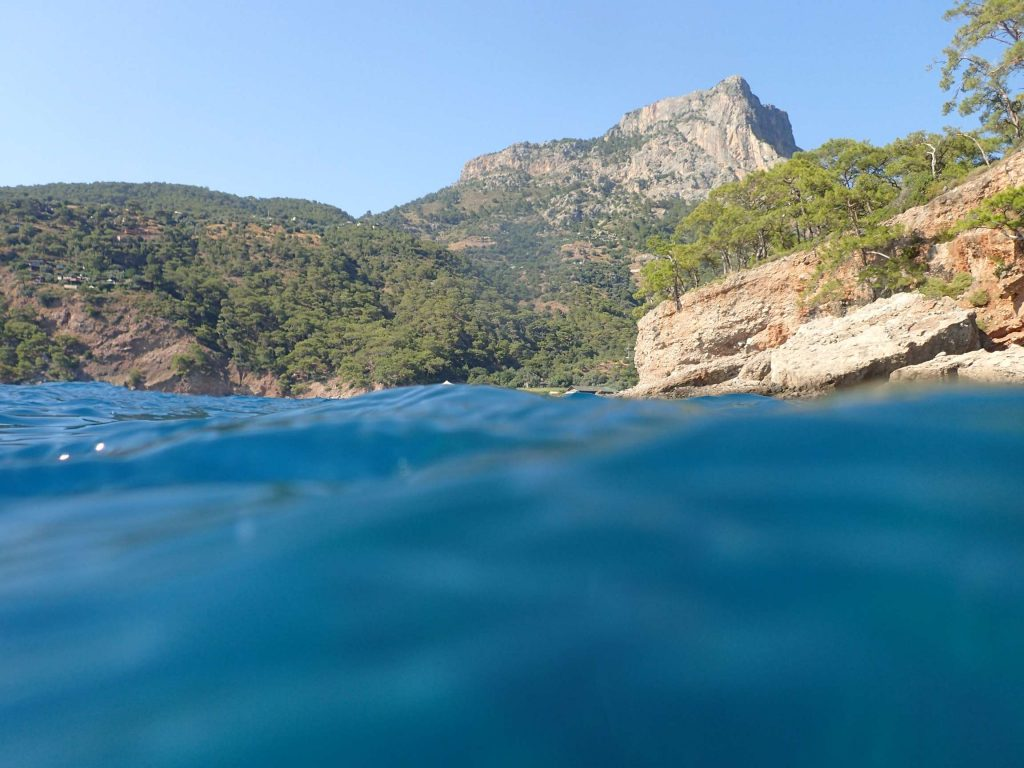 Kabak beached viewed from the Mediterranean waves outside the cave