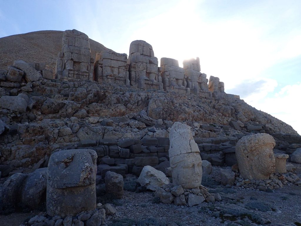 Nemrut Dagi peak. The figures are about 7 metres tall in total, the heads alone 1.5-ish metres.