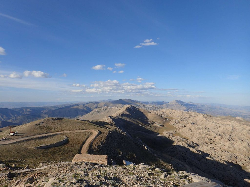 The road back down. On one side was craggy mountains, on the other seemingly endless plains