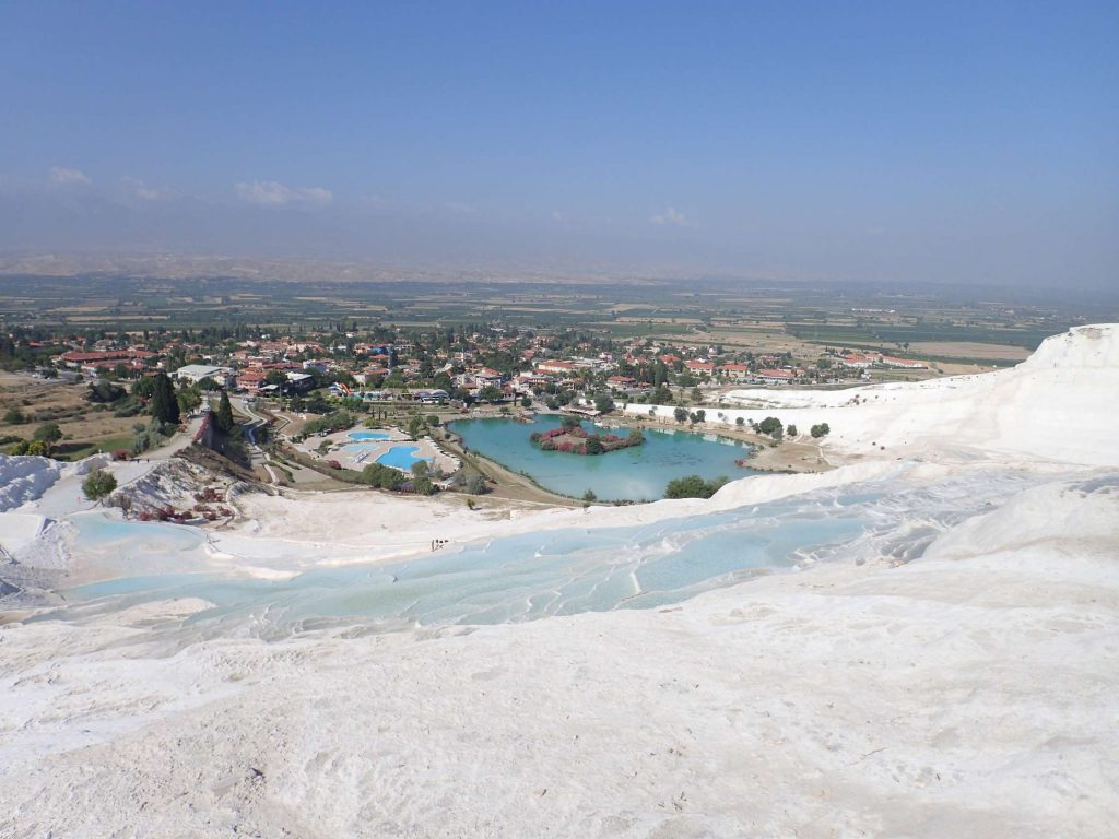 Looking down over the village of Pamukkale