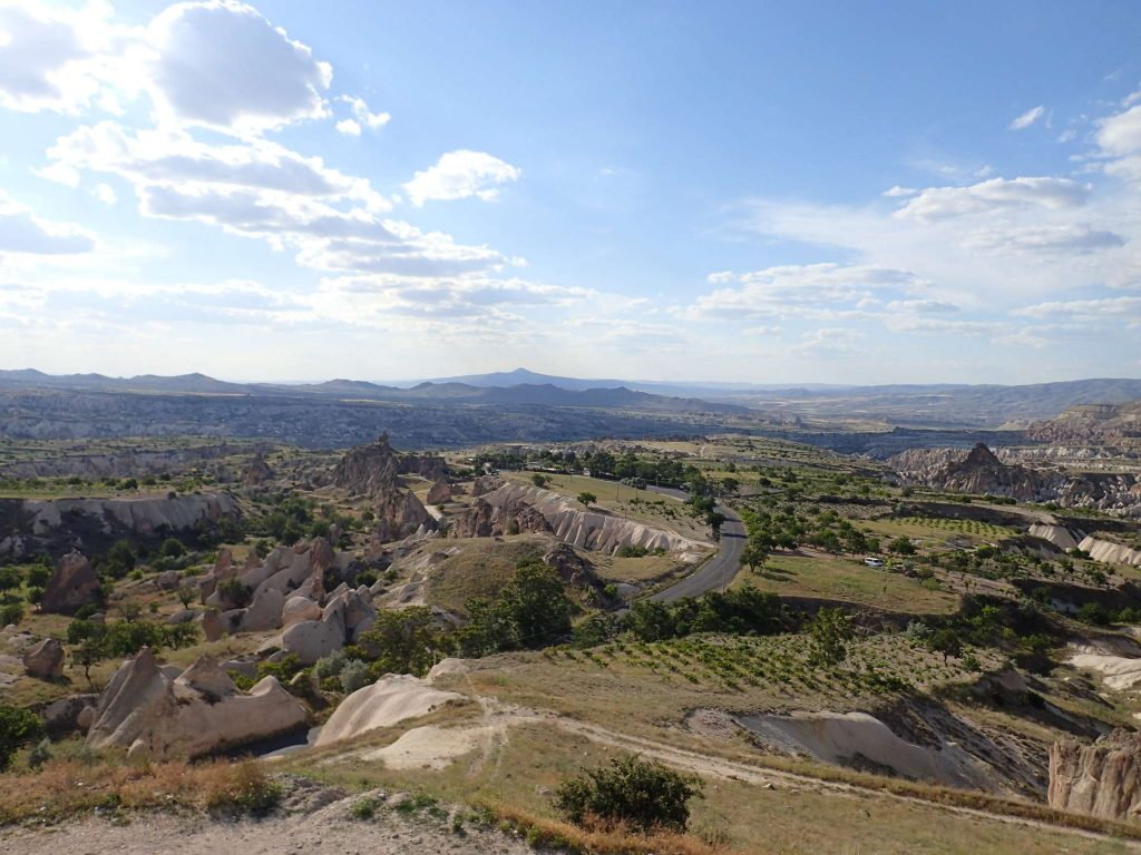 Seven hours and some 400km after picking me up, Gökhan dropped me just 2km from the central town of Cappadocia, Göreme. I'd say it was a successful ride! This was the view from the lookout over the road towards Göreme.