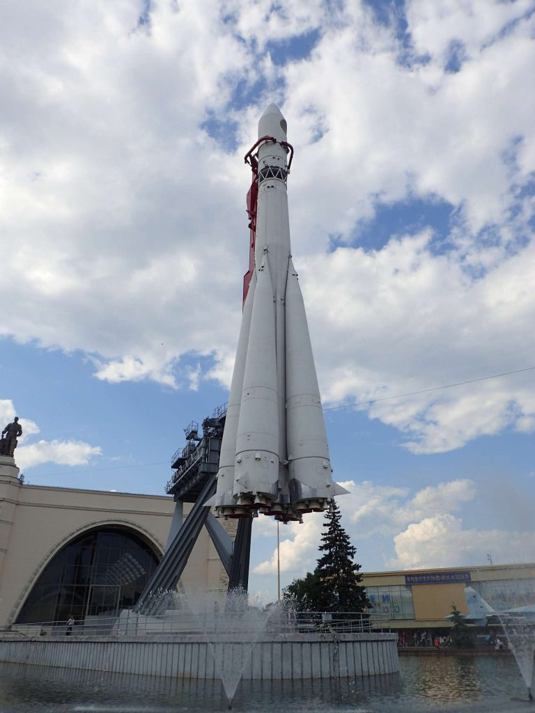 The Vostok spacecraft suspended in the air