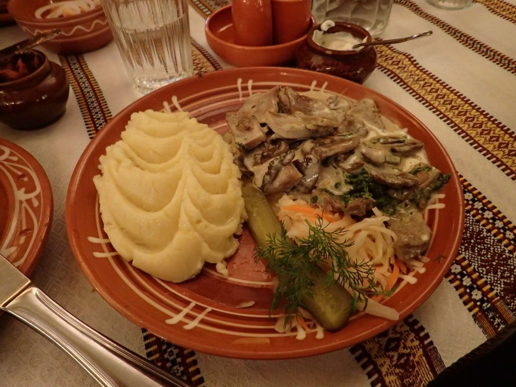 Ox tongue with mushroom sauce and mashed potato. So much better than it sounds, in Russia it's a real delicacy. The tongue was like slow-cooked beef, wonderfully tender