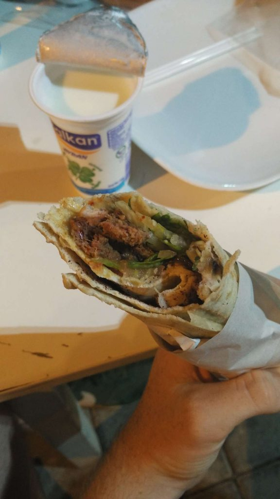 Adana kebab, with ayran (watered-down yoghurt + salt, very refreshing) in the background