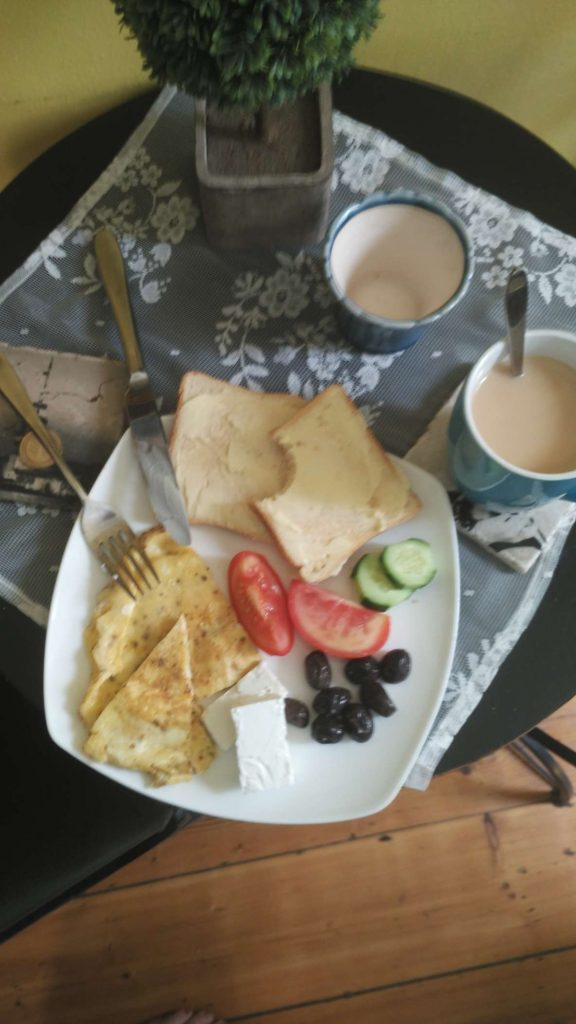 The breakfast at the hostel