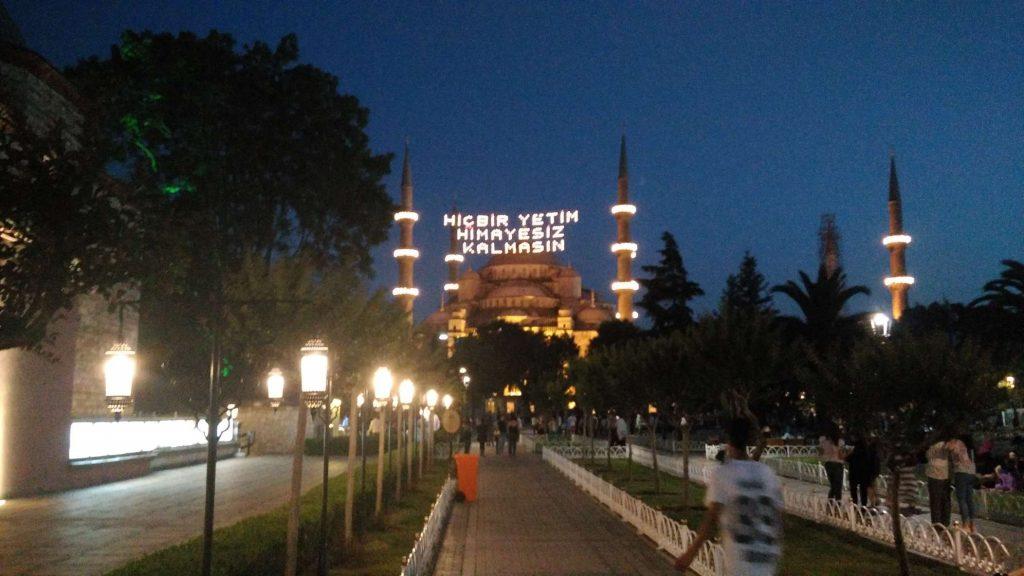 Lights suspended between the Blue Mosque's minarets