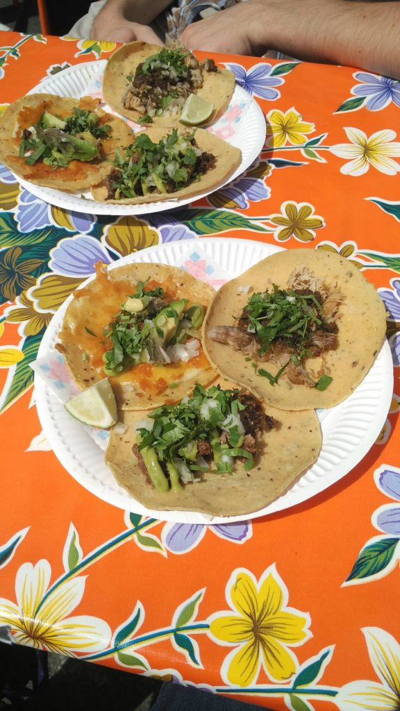 Lunch at Hija De Sanchez – opened by a Noma alum and doing quite well. Fresh corn tortillas with – clockwise – cheese, beef brisket, and beef tongue. Excellent.