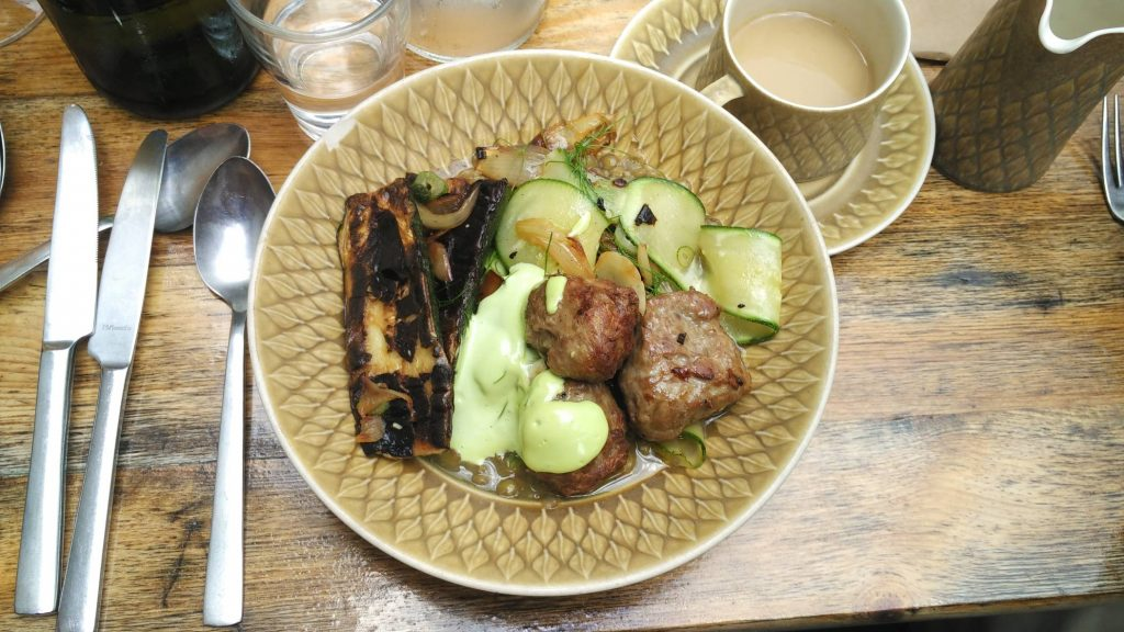 Manfred's: charred zucchini, caramelized onion, and stewed lentils with beef and lamb meatballs
