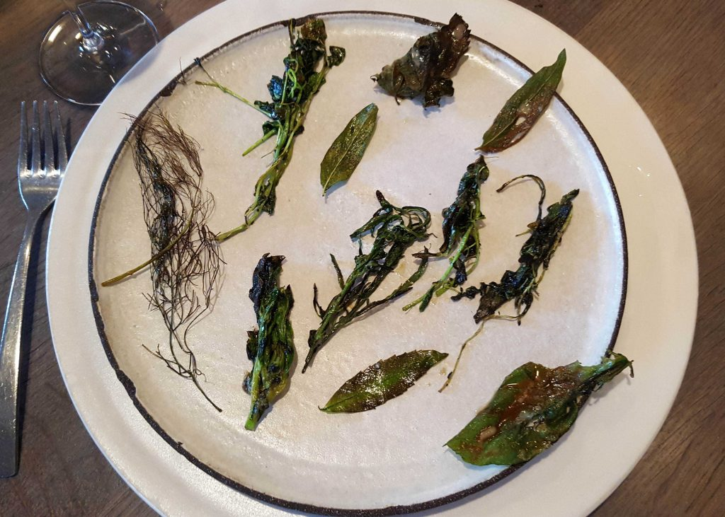 Charred greens and scallop paste