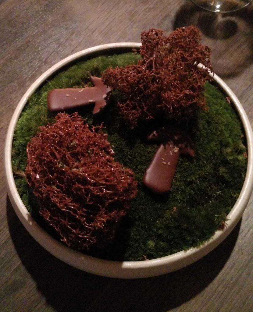 Liquorice porcini and fried reindeer moss sprayed with chocolate.