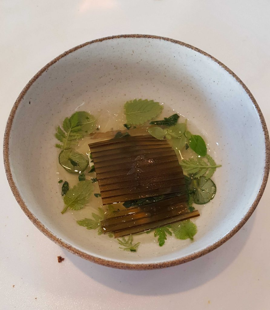 The next course – the bread an impossible act to follow – fresh milk curd, green strawberry and goose tongue leaves. The brown strips are painstakingly placed seaweed which give a savouriness to the otherwise very light dish.